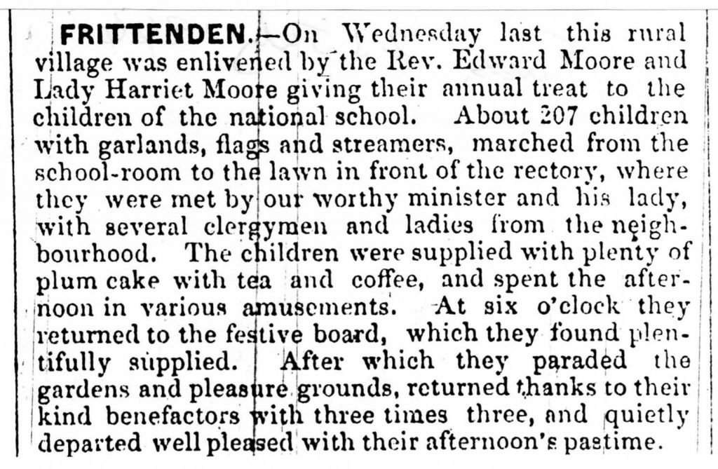 Press cutting of 1844 School Treat