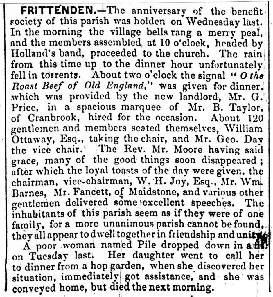 1846 Frittenden Provident Society