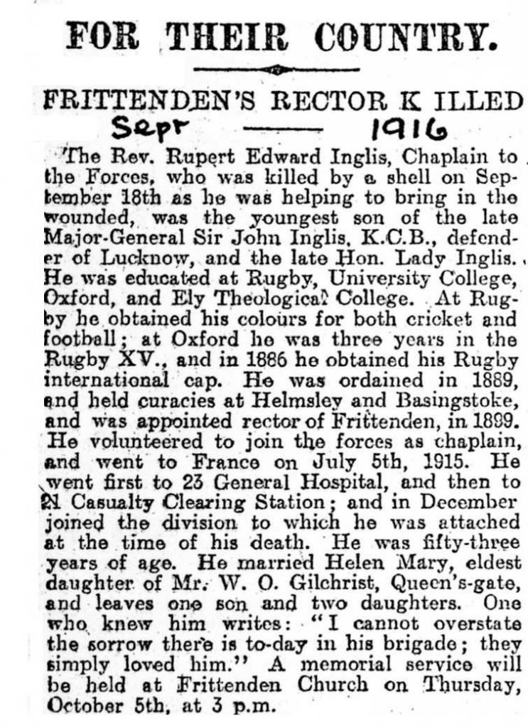 Newspaper report of Rupert Inglis' death