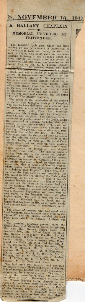 Newspaper report of dedication of Lych Gate