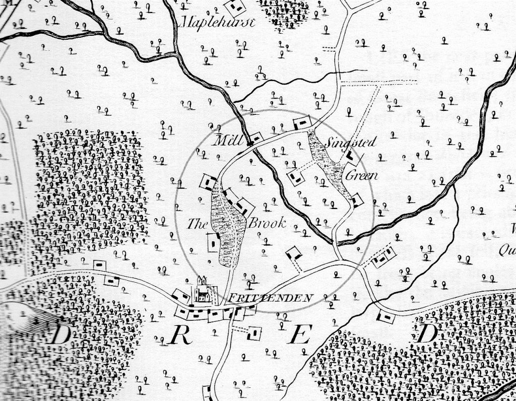 Extract from Hasted Map of Lathe of Cranbrook