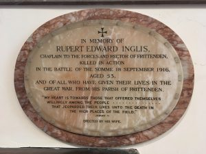 Memorial to Rupert Inglis in the church.